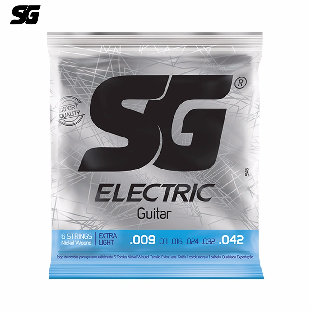 SG Brazil Electric Guitar Strings 009-042 inch Nickle Wound 1 pcs Free Extra E String and Pick Steel Hexagonal Core 5145EX
