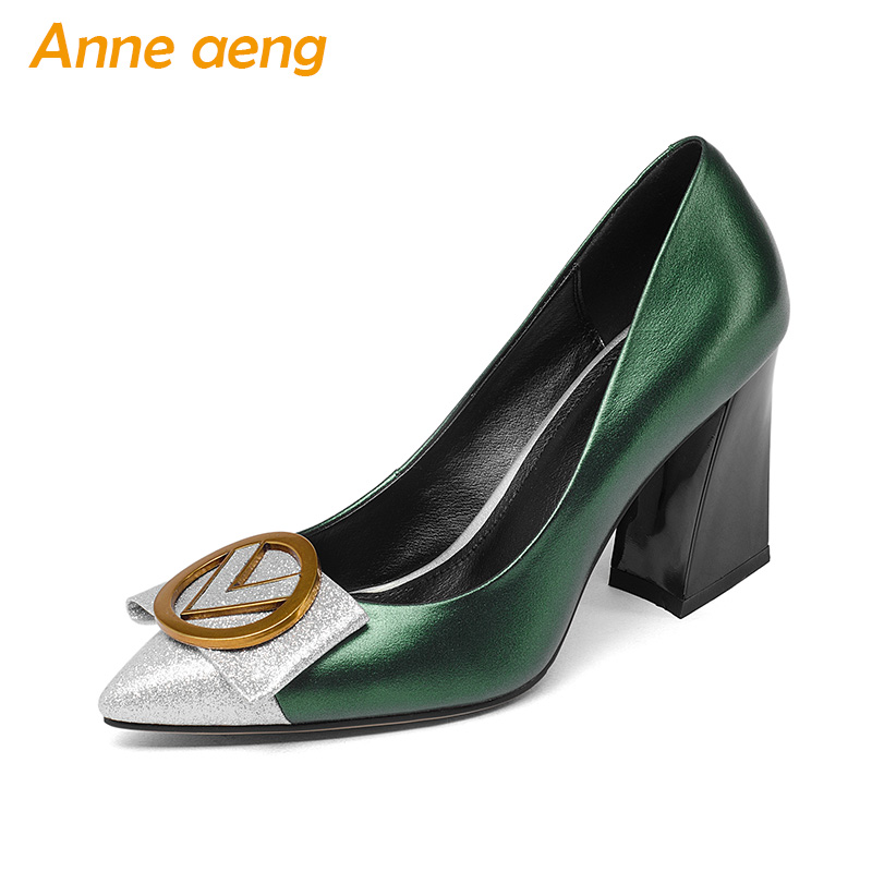 New Genuine Leather Women Pumps High Heels Pigskin Insole Pointed Toe Shallow Office Sexy Bridal Wedding