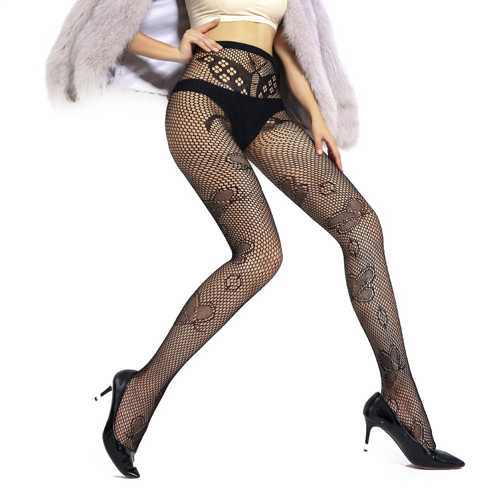 US Women Crystal Rhinestone Fishnet Elastic Stockings Fish Net Tights Pantyhose