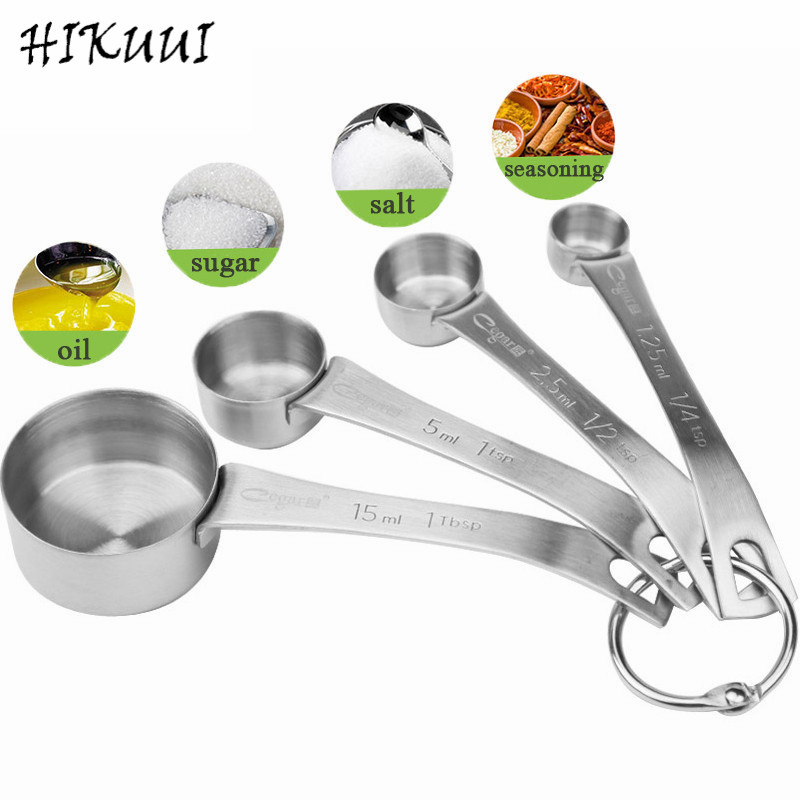 4pcs//lot Stainless Steel Measuring Cup Kitchen Measuring Spoons Scoop For Baking