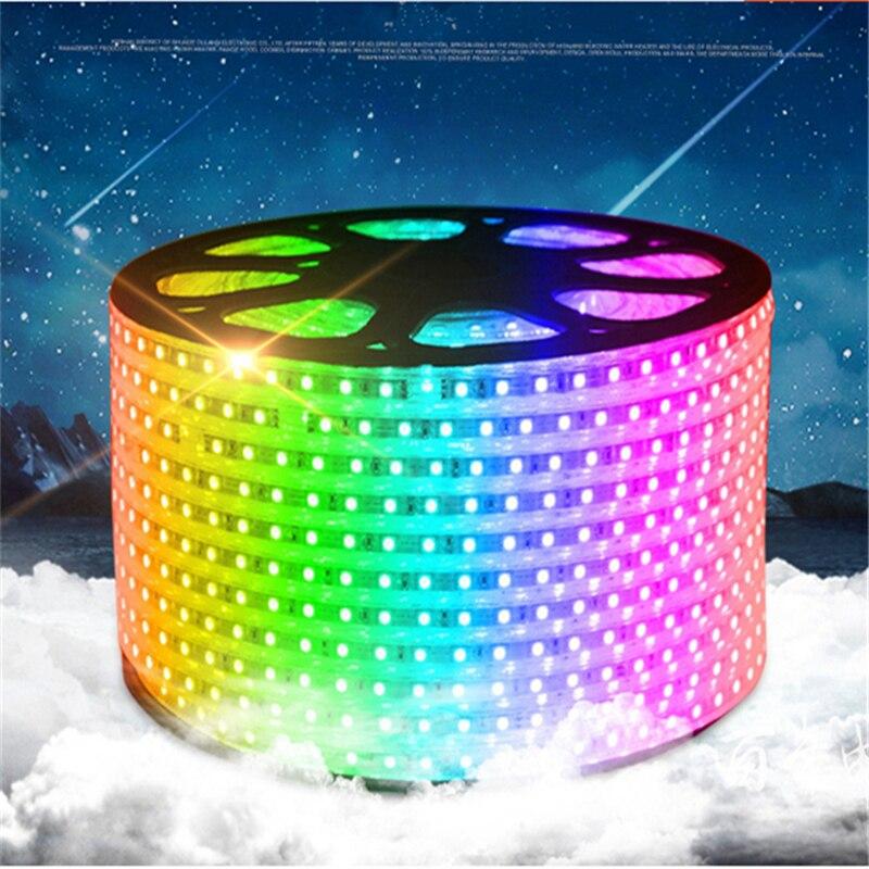 5-15 m/roll 110 V entrée 16 couleurs rvb, haute luminosité 60 LED/m IP65 étanche à l'eau 5050 LED bande avec télécommande