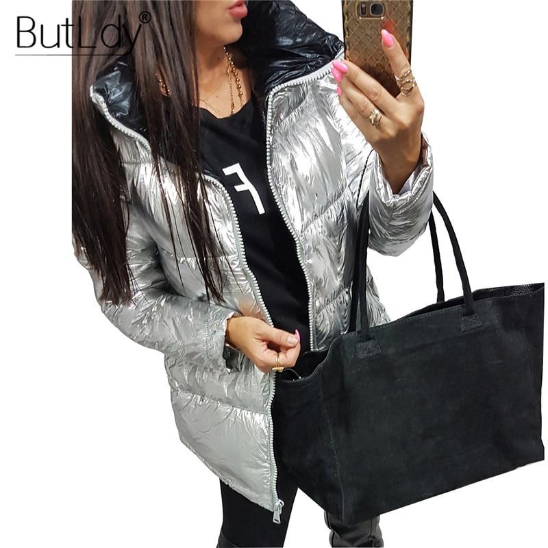 Turtleneck Zipper   Parka   Women Winter Fashion 2018 Silver Shiny Down Jacket Coat Puffer Warm Snow   Parkas   Cotton Padded Outerwear
