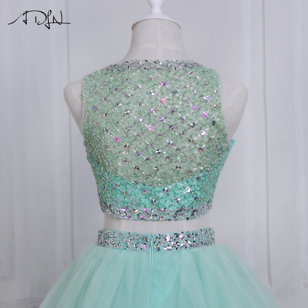 ADLN 2019 High Quality Two Piece Quinceanera Dress O-neck Sleeveless Beaded Crystals Sweet 16 Dresses Zipper-up Back