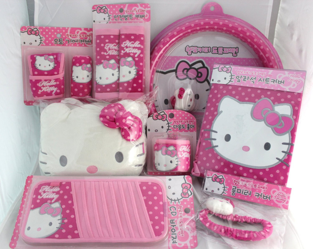 hello kitty car seat cover and accessories 11 pcs set polka dot in automobiles seat covers from. Black Bedroom Furniture Sets. Home Design Ideas