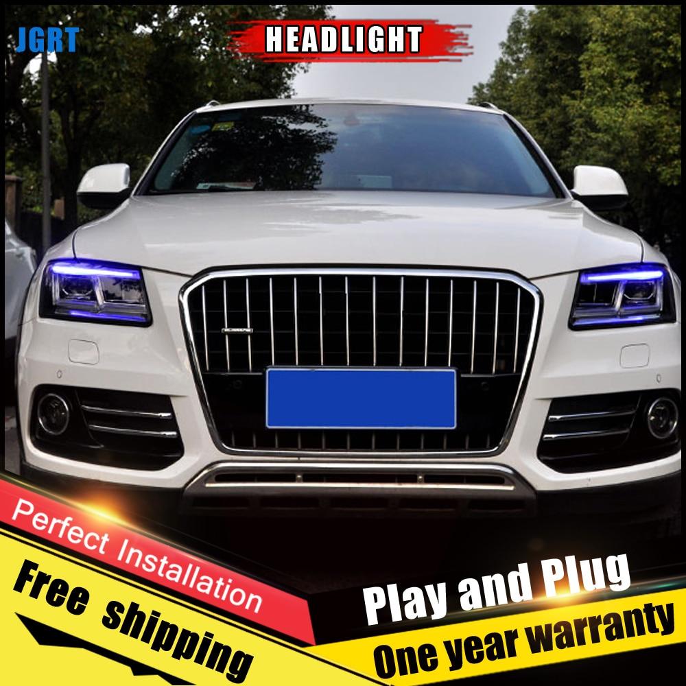 2PCS Car Style LED headlights fo Audi Q5 2009-2018 for Q5  head lamp LED DRL Lens Double Beam H7 HID Xenon bi xenon lens