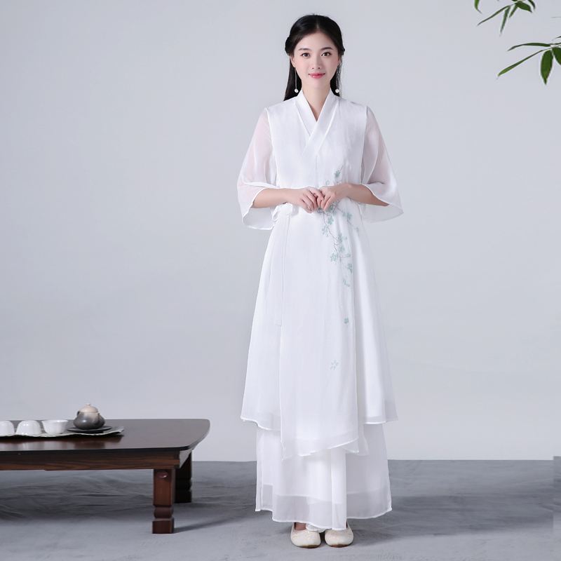 5e95bee7d9 Spring Autumn Sashes Hanfu dress women Cotton Linen Chiffon Double Layer White  pleated women dress vestidos