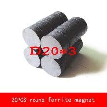 20PCS D20*3MM diameter 20mm thickness 3mm work temperature -40 to +220 Celsius circular black permanent Ferrite Magnet
