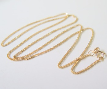 Pure 18K Yellow Gold Necklace Special 0.8mm Wheat Link Chain Necklace 17.7inch Length Hallmark: Au750 4