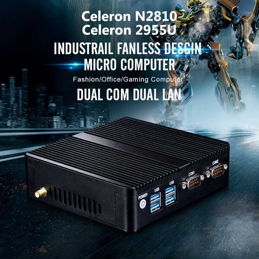 Mini Ordinateur Celeron N2810 2.0 ghz Double LAN Mini PC Celeron 2955U 2 * Gigabit Ethernet LAN 2 * COM windows 10 Fanless Ordinateur Mini