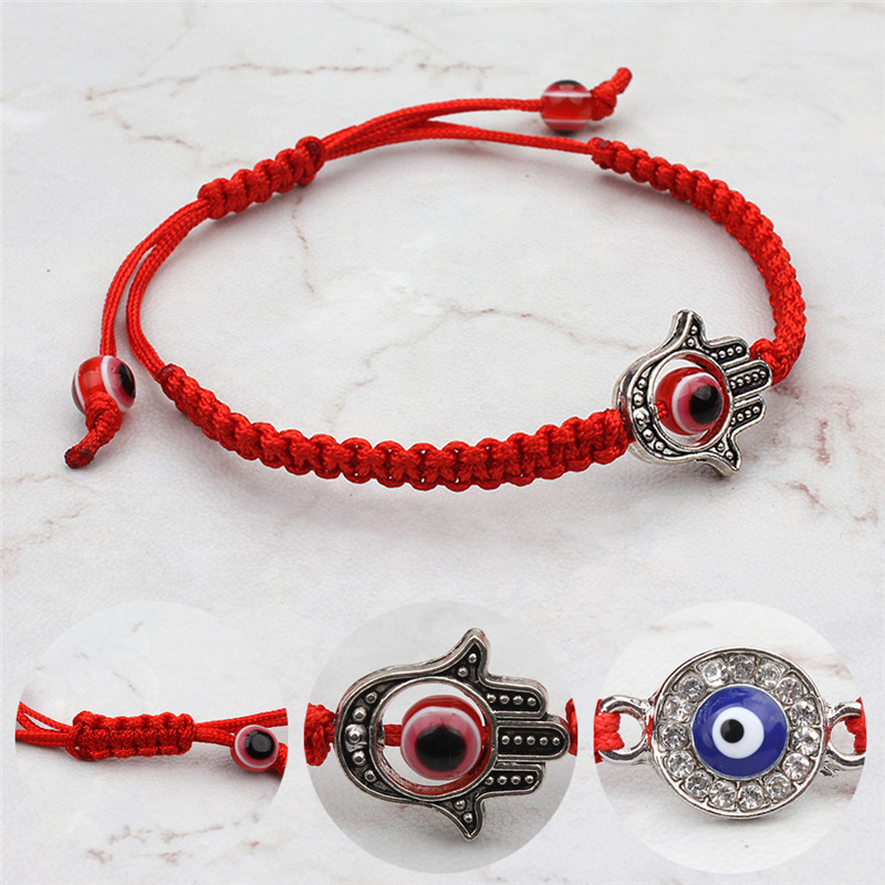 16.5-27.5cm New Red Thread Popular Charms Bracelet String Rope Braided Bangles Bracelets For Women Men Adjustable Length