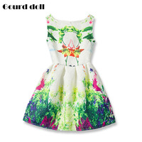 New Girls Summer Dress 2016 Kids Clothes Girls Party Dress Children Clothing Green Cotton Princess Flower