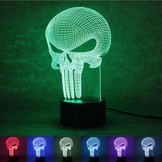 3D Mudança de Cor LED Veilleuse Bulbificação Punisher Crânio Night Light Decor Acrílico