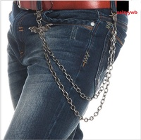 New Men S 2 Layers Metal Bats Leather Braid Cuban Chain Key Chain Big Hook Biker