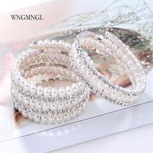 WNGMNGL Brand New Arrival Charm Crystal Imitation Pearl Bracelets For Women 2018 Fashion Multi Layer Wide Bangles Jewelry Gift