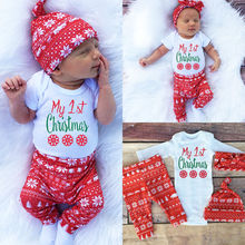 Новинка 3 шт. осенний рождественский комплект комбинезон с надписью «My 1st Christmas» узкие штанишки шапка и повязка с рисунком снежинки для маленьких девочек и мальчиков детская одежда
