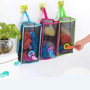 Image 2 - שימושי אופנה תליית לנשימה פלסטיק רשת אשפה תיק גרבי ושונות אחסון מארגני מטבח אחסון חדר אמבטיה.