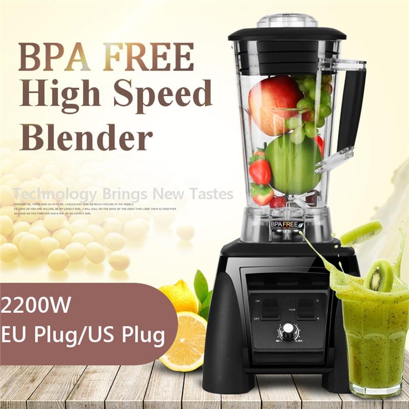 купить Commercial Blender + Blender Tamper EU/US Plug 2200W 6 Blades 2L Safty BPA FREE Unbreakable FDA 10 Adjustable Speed Toughness по цене 9747.48 рублей