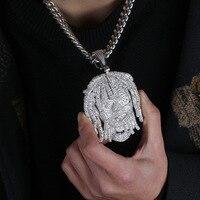 Большой широкий AAA фианит проложили Bling Iced Out известный характер белого золота хип хоп рэппер lil насос кулон цепочки и ожерелья для мужчи