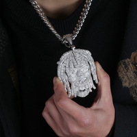 Big Wide AAA CZ Stones Paved Bling Iced Out Famous Character White Gold Hip Hop Rapper lil Pump Pendant Necklace for Men Jewelry