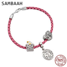 цена на Sambaah 3mm Chain Italian Braided Leather Cross Bracelet with 925 Sterling Silver Guardian of Family Charms for Mother Bracelet