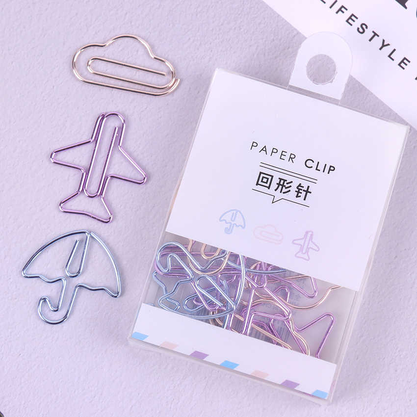 12PCS Cartoon Shape Paper Clips Notes DIY Bookmark Metal Binder Clips Notes Letter Paper Clips