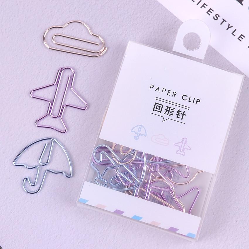 12PCS Cartoon Shape Paper Clips Notes DIY Bookmark Metal Binder Clips Notes Letter Paper Clips