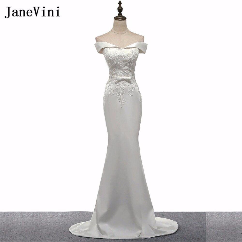 JaneVini White Long Bridesmaids Dresses Sweep Train Beaded Lace Prom ...
