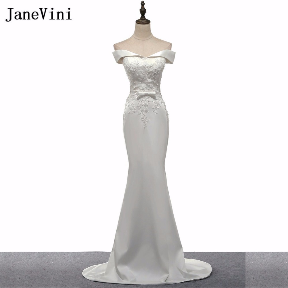 JaneVini White Long   Bridesmaids     Dresses   Sweep Train Beaded Lace Prom   Dresses   2018 Mermaid Ladies   Dresses   for Wedding Party Gowns