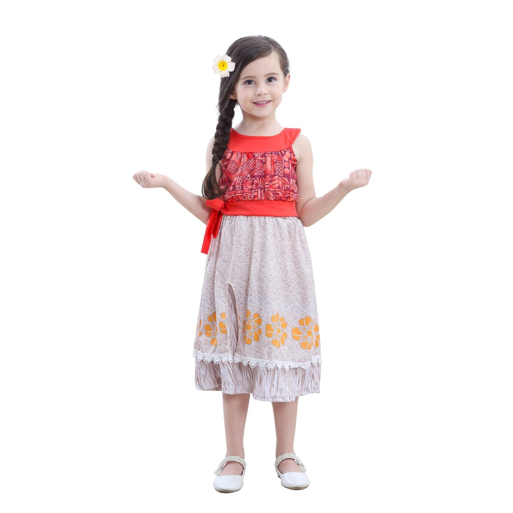 Girls Vaiana Moana Costume Dresses with Necklace for Kids Girl Halloween Party Moana Dress Costumes Cosplay