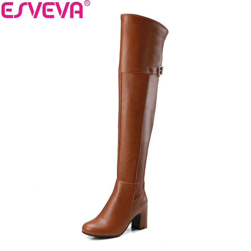 ESVEVA 2018 Women Boots Short Plush Round Toe Concise Over The Knee Boots Square High Heel Out Door Ladies Long Boots Size 34-43 esveva 2018 women boots lining short plush chunky square high heel ankle boots slim look pointed toe ladies boots size 34 43