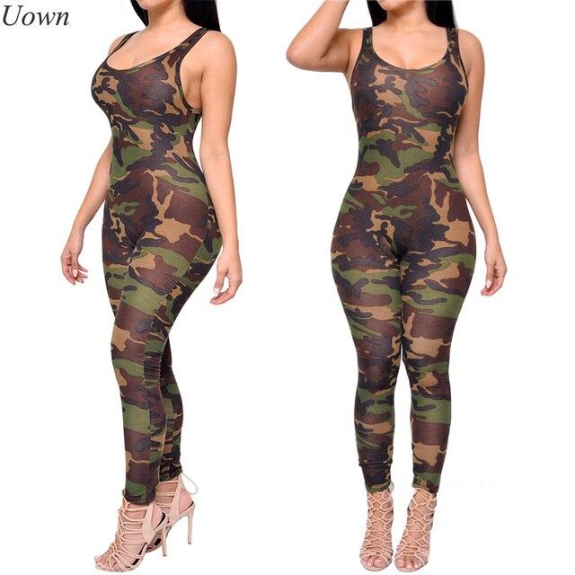 acbb4a1b31f5 Army Camouflage Print Long Jumpsuit Romper Fitness Slim Bodysuit Women  Romper Be Stretchy Tank Ldaies Bodycon Overalls Feminino