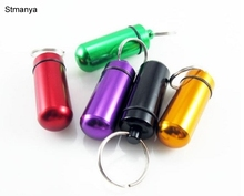 Key Chain - Aluminum Waterproof Pill Shaped Box Bottle Holder Container Keychain medicine Keyring keychain Man Women Gift 17409