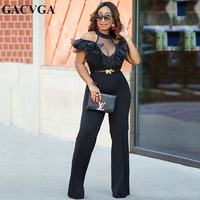 GACVGA Sexy off shoulder black jumpsuit women Tiered ruffle high waist jumpsuit romper casual overall femme