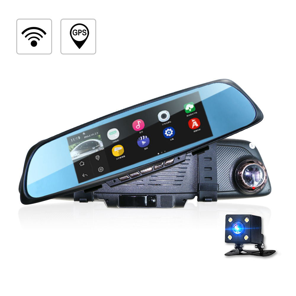 Car Camera Dvr Gps Navigation Dual Lens Rearview Mirror Video Recorder Fhd P Automobile Dvr Mirror Dash Cam Built In Wifi