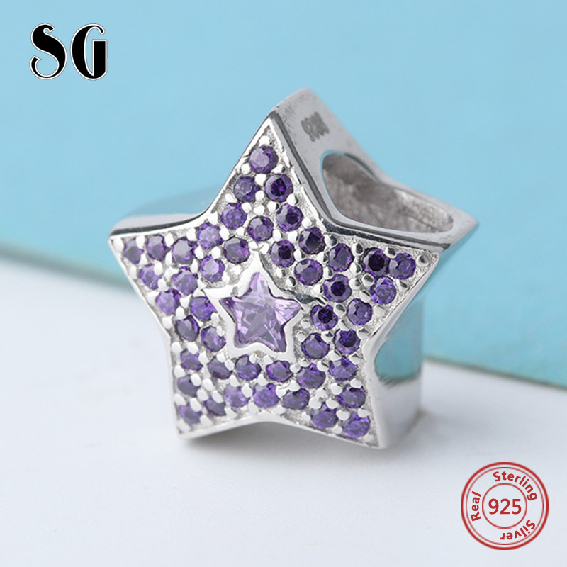 New star Beads with elegant purple cubic zircon 925 Silver Charms Fit Authentic pandora Bracelets DIY Jewelry making women Gifts