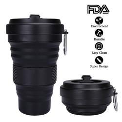 Katlanabilir kahve fincanı kapaklı 550ml sızdırmaz BPA ücretsiz eko yeniden kullanılabilir kahve kupa taşınabilir su şişesi seyahat tipi kupa tüm siyah