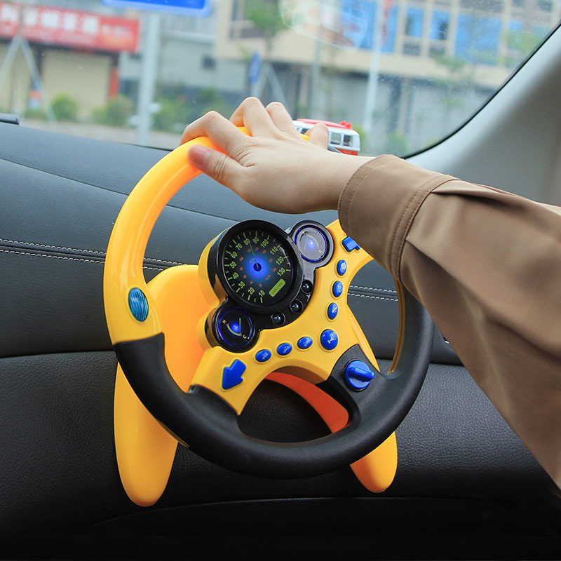 Children's Simulation Toy Musical Instruments For Kids Baby Steering Wheel Handbell Developing Educational Toys For Children Gif