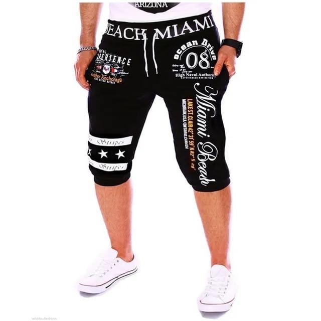 ZOGAA 2019 Men Summer Jogger Short Letter Printing Shorts Mens Baggy Streetwear Shorts Drawstring Elastic Waist Streetwear