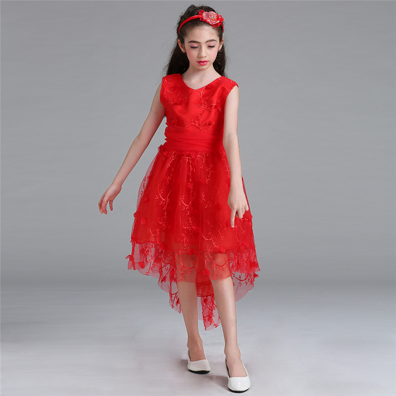 2018 New Fashion Children Flowers Dress Girl Formal Red Princess Dress for Party and Wedding Clothing Cotton Lining Dresses muqgew new fashion 2018 children party