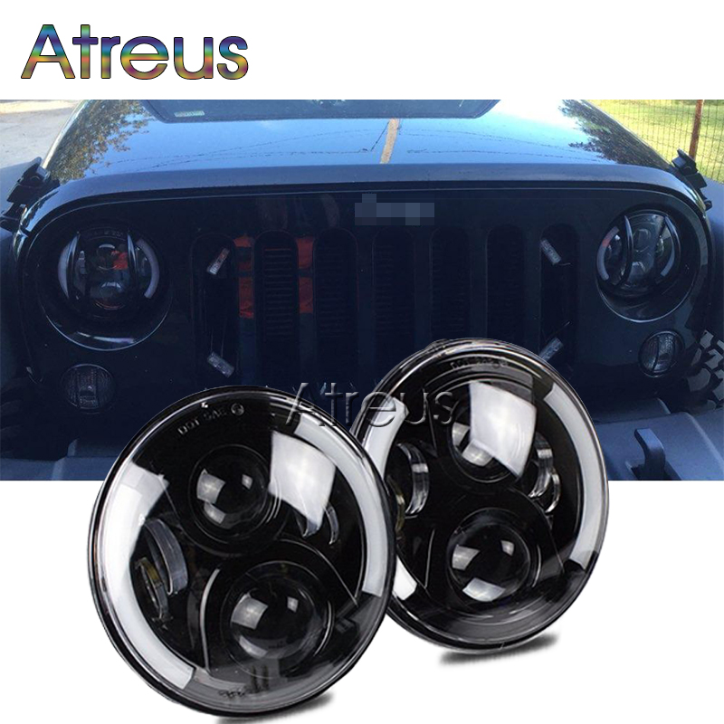 Atreus 1Pair 7 60W Car LED Headlight for Jeep C J Wrangler JK for Land Rover Defender accessories H4 H13 LED Headlamp Assembly windshield pillar mount grab handles for jeep wrangler jk and jku unlimited solid mount grab textured steel bar front fits jeep
