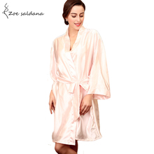 Zoe Saldana 2017 Silk Satin Short Night Robe Women Wedding Bride Robe Kimono Bathrobe Sleepwear(China)