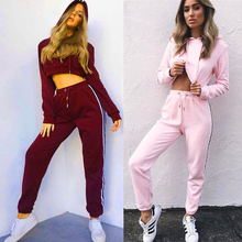 Woman Clothing Set 2017 New Ladies Outfit Tracksuit Cotton Women Suits Set Office Wear Full O Neck Drawstring Solid Two Pieces