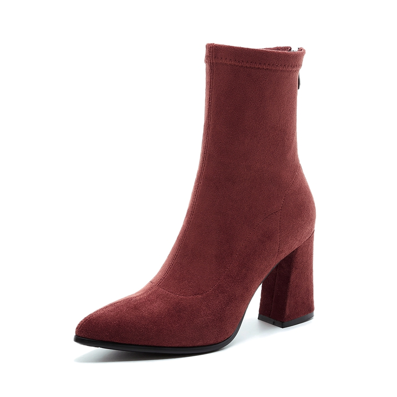 e8238a26c5c4f 2017 Women s Shoes Kid Suede Stretch Ankle Boots for Women Pointed Toe Sock Boots  Square High Heel Boots Shoes Woman Fashion