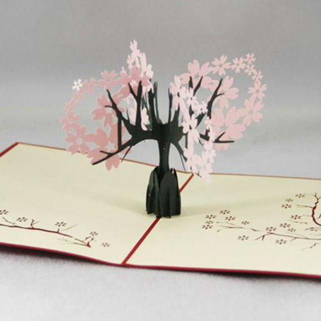 foldable 3d greeting card invitations sakura cherry blossom