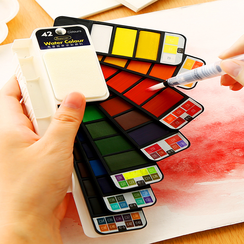 Watercolor Pigment Set Painting Student Hand-painted Portable Solid Beginner Art Supplies