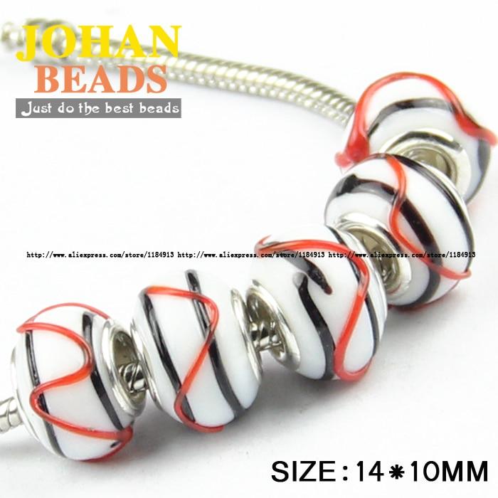 European Beads Black stripe Big Hole Glass Beads 10pcs Fashion Charm 14MM Loose beads Fit  Bracelet & Bangle Jewelry Finding DIY bead