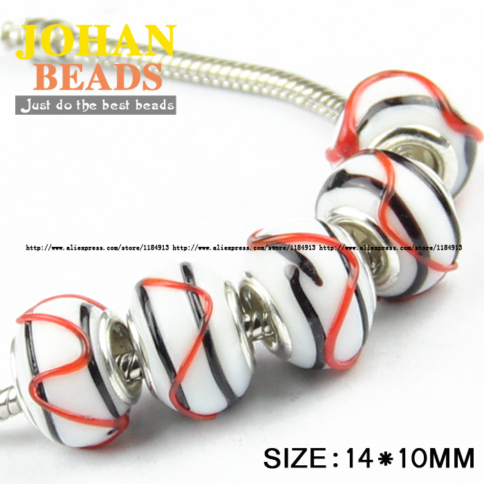 US $2 05 50% OFF|JHNBY European Beads Black stripe Big Hole Glass Beads  10pcs Fashion Charm 14MM Loose beads Bracelet Bangle Jewelry Finding DIY-in