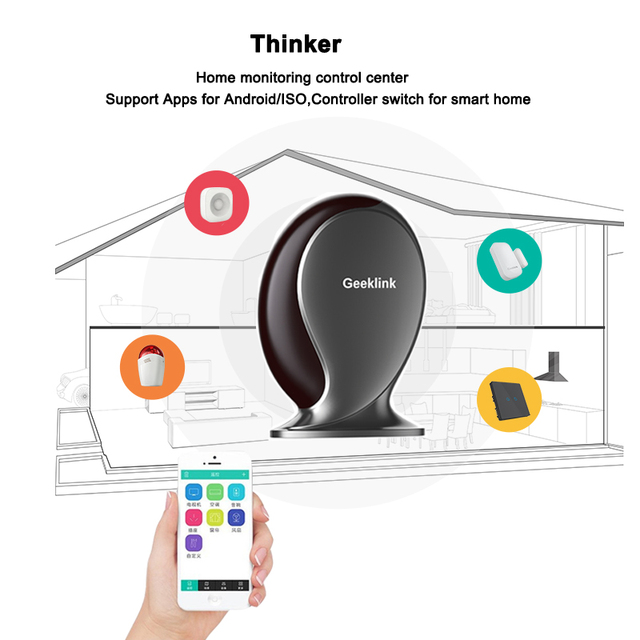 Geeklink pensador mando a distancia universal, router wifi + ir + rf, control inalámbrico 433 interruptor by ios android smart home automation