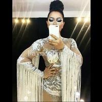 White Tassel Crystal Bodysuit Rhinestones Stage Outfit Silver Leotard Nightclub Singer Dj Performance Show Party Dance Wear