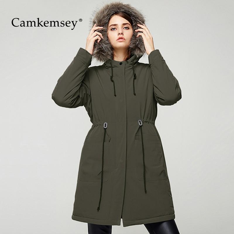 CamKemsey Plus Size Winter Coat Women Casual Pockets Long Sleeve Faux Fur Hooded Winter   Parkas   Women Long Cotton Down Jackets